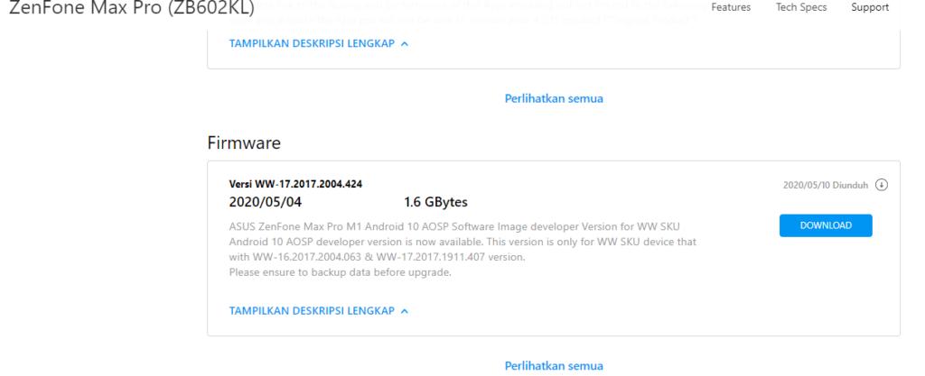 Update firmware asus zenfone max pro m 1